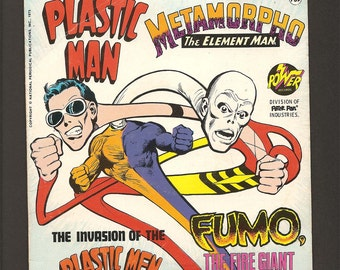 The Invasion of the Plastic Men - Vintage Power Records 33 1/3 RPM Little LP Book and Record Set #2302 - Plastic Man - Metamorpho - Fumo