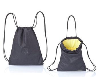 Black canvas backpack purse- Multi bag - tote bag- canvas rucksack- drawstring backpack- back pack SALE hipster backpack- sack bag