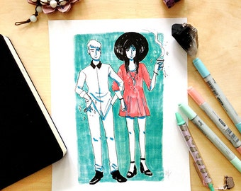 Witchy Couple Marker Illustration Print