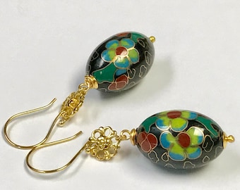 Vintage Chinese Large Focal Lime Green Red Blue Black Oval Cloisonne Bead Earrings,Bali 24K Gold Vermeil Handmade Flower Beads,Ear Wires