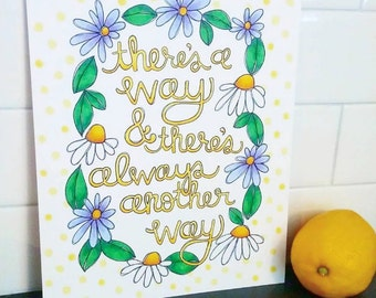 There's A Way Custom Artwork Quote Inspirational Quote Colorful Art Custom Handlettering Flower Art Daisy Purple Leaves