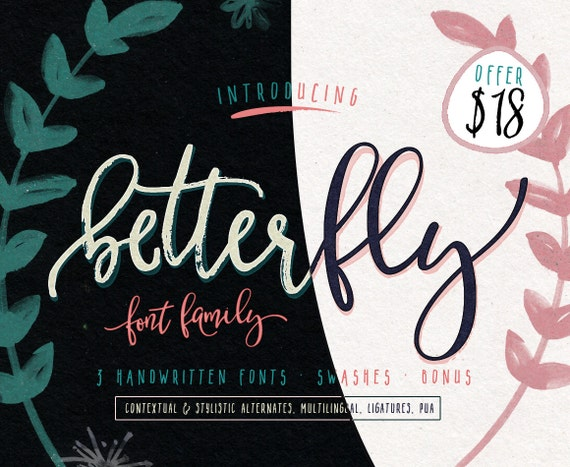 Modern fonts betterfly font family with fonts and extras
