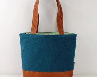 Lulu Large Tote Diaper Bag Deep Teal Linen and PU Leather READY to SHIP- Travel Overnight Purse Nappy Bag