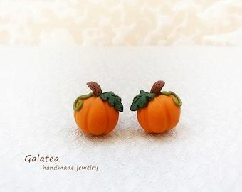 Stud Pumpkin earrings Mini Pumpkin jewelry Helloween earrings Stud Fall earrings Autumn jewelry gift Thanksgiving jewelry MIni Food earrings