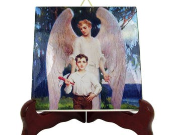 Religious art - Guardian Angel by Chambers - collectible ceramic tile - catholic gifts - catholic art - baptism gift idea - protector angel