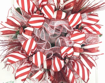 Beautiful Christmas Wreath, Candy Cane Wreath, Red & White Christmas