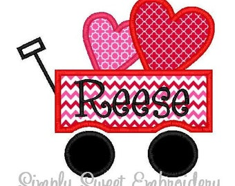 Heart Wagon Machine Embroidery Applique Design