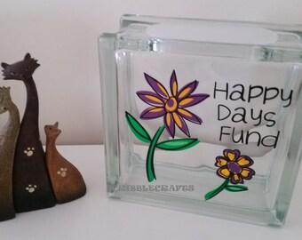 Glass Block Money Bank, Flowers, Money Box, Happy Days Fund, Change Saver, Savings