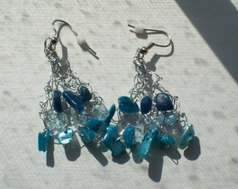 Blue Stone Chips Knitted Silver Wire Earrings by hipknitta