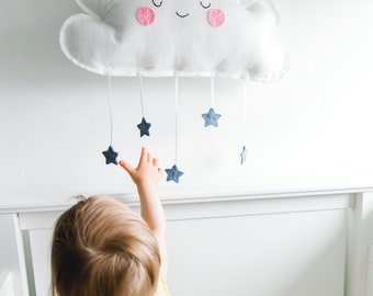 Cloud Mobile - Nursery Decor - Kids Room Decoration - Baby Mobile - Plush Cloud with Stars