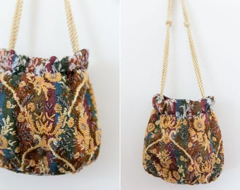 Vintage Beaded Tapestry Evening Bag with Rope Handles // Mustard Yellow Beaded Bag