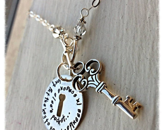 Custom Sterling Silver and Crystal Key and Keyhole Necklace