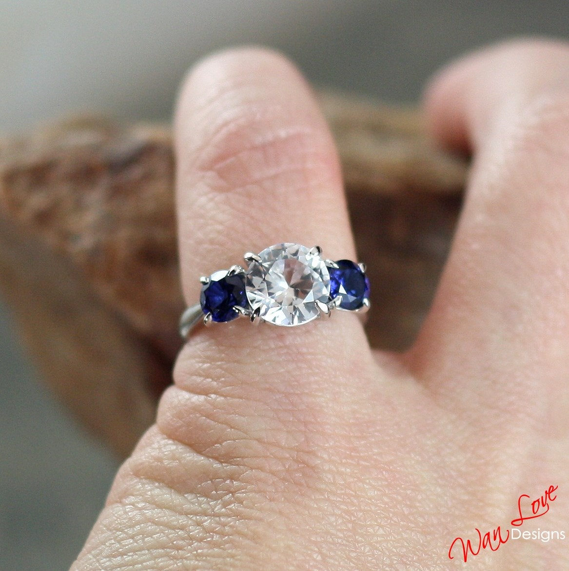 engagement moissanite setting rare cushion bridal cut white and ring with products sapphire stone blue