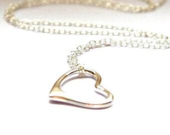 Bridesmaid Gift - Silver Heart Necklace - Bridget Jones - Floating Heart Necklace - Bridesmaid Necklace - Heart Pendant - Sterling Silver