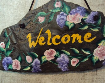 Gold Welcome, gift, hand painted slate, Mother's Day