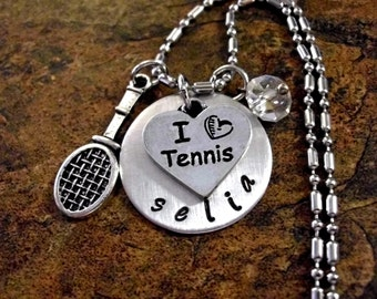 Tennis Necklace, Personalized Jewelry, Tennis Jewelry, Personalized Tennis Racket Jewelry, Sports Jewelry, Hand Stamped Jewelry, Tennis Team