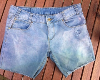Purple to green ombré shorts 13yrs