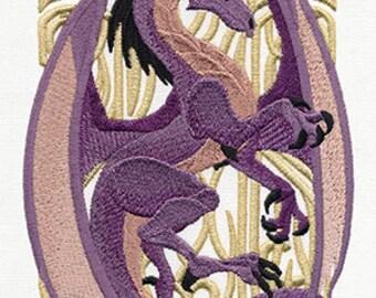 Art Nouveau Dragon Embroidered Flour Sack Hand/Dish Towel