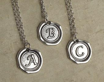 Silver Monogram Necklace,  Letter Pendant, Name Necklace, Wax Seal Letter Necklace, Best Friend Necklaces