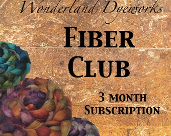 Fiber Club - hand dyed wool and silk roving - spinning and felting combed top - 3 month subscription - Wonderland Dyeworks Fiber Club