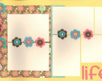 12x12 ENJOY LIFE scrapbook page kit, premade scrapbook kit, 12x12 premade page kit, premade scrapbook pages, 12x12 scrapbook layout