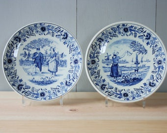 2 wall plates Dutch Delft Blue by BOCH and REGOUT
