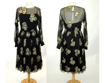 Pauline Trigere designer dress silk black gold metallic sculptural flowers 1980s Size M