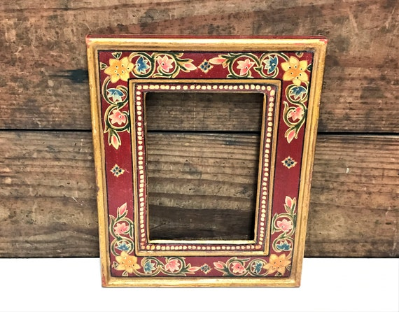 Vintage Wooden Hand Painted Frame, Gold Gilt and Floral Hand Painted ...