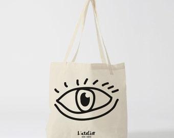 X26Y Tote bag eye, cotton bag, tote bag, handbag, bag, shopping bag, bag course, changing bag, computer bag.