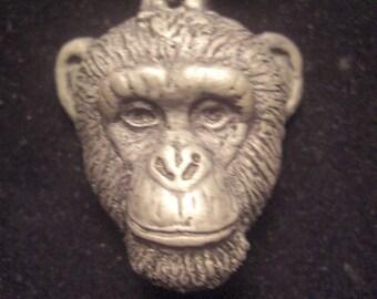 Chimpanzee Pendant Necklace Large  cold cast pewter