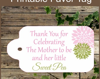 Pink and Green Baby Shower Printable Favor Tag / Sweet Pea / Baby Shower Favor Tag / Instant Download / Girl Baby Shower Tag