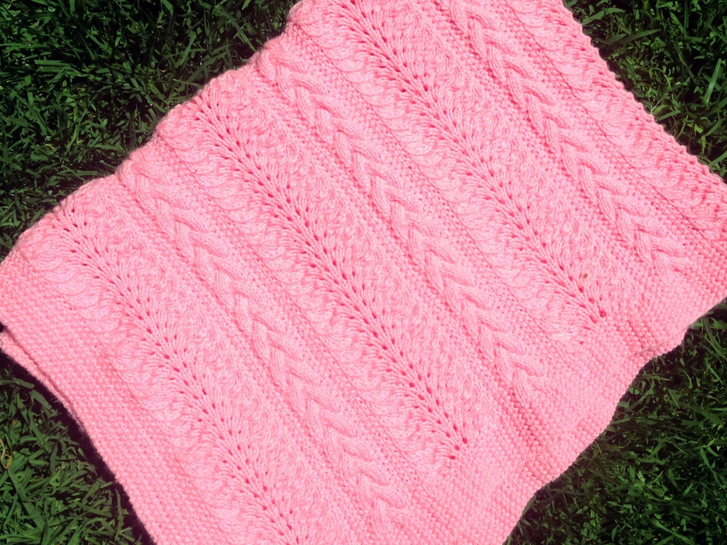 Baby Blanket Knitting Pattern Sandi Cable and Lace Baby Blanket ...