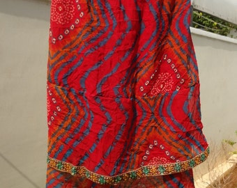 Lightweight, Long, Layered Summer Indian Sari Silk Ladies Skirt - Anne 607