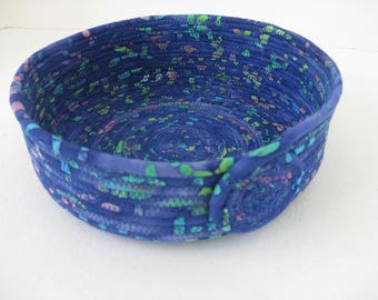 Coiled Fabric Bowl, Handmade Fabric Basket, Blue Coiled Rope Basket