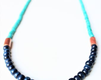 Wood and copper necklace, wood beaded necklace, Copper necklace
