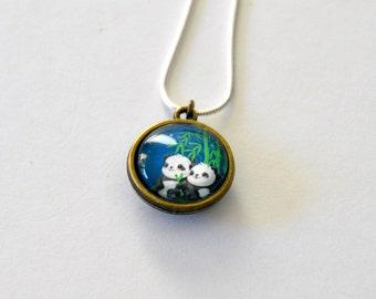 Starry Night Panda Double Side Necklace cute panda bear animal gift kawaii bears cute gift panda present animal necklace animal jewelry pets