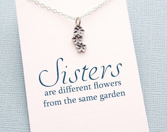 Gifts for Sister | Flower Necklace, Big Sister Gift, Sister Birthday Gift, Best Friend Gift for Sister, Friendship Necklace, Friends | S08