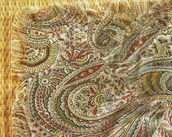 Vintage Paisley Shawl Challis Cotton-Wool Liberty of London print Sage Dusty Aqua Mustard Cinnamon Cream, Celadon Light-weight Packable Wrap