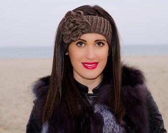 Brown crochet flower headband, headband with flower, womens crochet headbands, womens knit headband, winter headband, winter ear warmer