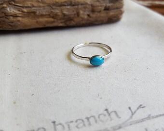 Sleeping Beauty Turquoise Ring - Turquoise Stacking Ring - Argentium Silver Jewelry - Blue Gemstone Ring - Gemstone Stack Ring -