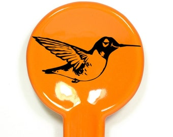 spoon rest with a hummingbird print on it, shown here on creamsicle orange - Made to Order / Pick Your Colours