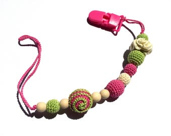 Pacifier clip, Dummy chain - teething toy, Pacifier chain, Gift, Natural toy, Stroller chain holder