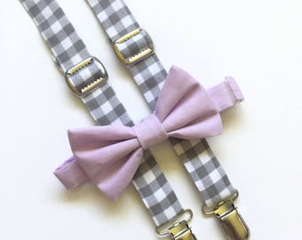 Bow tie and suspenders set, gray plaid suspenders and lavender bow tie, purple bow tie, purple and gray suspender set, gray suspenders
