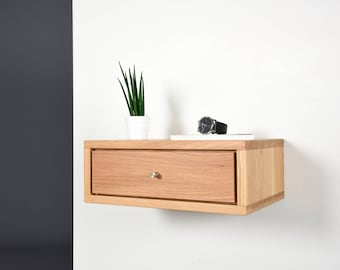 Oak Floating nightstand bedside table drawer in solid Oak mid century modern / Bedside table small with drawer / Modern Night Stand