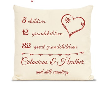Grandparents gift - unique gift - personalized gift, pillow print, number of kid, grandkids, anniversary gift, grandparent, pillow cover