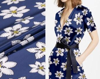 White Small Floral Print Blue Stretch Silk Satin Fabric Width 42 inch