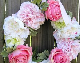 "Peony Roses Wreath 17"" Spring White Pink Shabby English Cottage Garden Wedding Baby Nursery Decor"