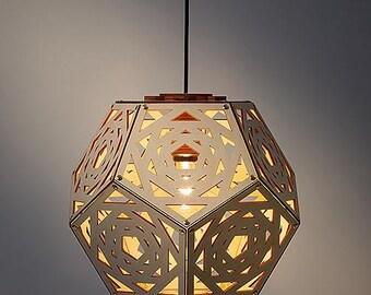 No.34 laser cut wooden pendant handmade Dutch Design from Rotterdam