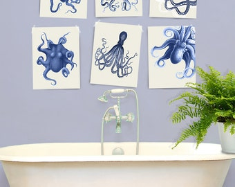 Octopus Print Blue/Cream Set of 6- Nautical Print Nautical Nursery Decor octopus art print Octopus wall art Bathroom wall art Bathroom decor
