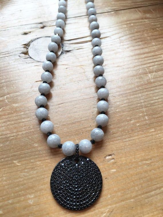 Pave Pendant & Gray Jade Necklace, Gunmetal Round Pave Pendant